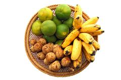 tropical fruits set - stock photo