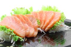 Stock Photo of appetizer salmon sashimi