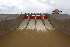 Water gates dam Stock Photos