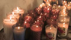 Zoom in on Votive Candles Stock Footage