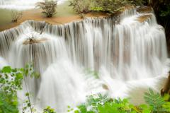 tropical rain forest waterfall - stock photo