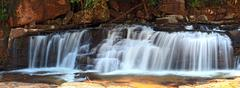 panoramic view of tropical tadtone waterfall in rain forest in chaiyaphum nor - stock photo