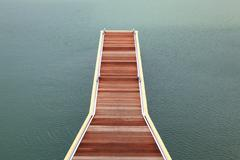 wooden jetty walkway - stock photo
