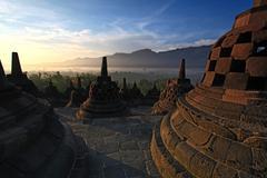 borobudur temple stupa indonesia - stock photo