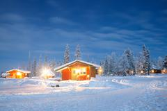 winter landscape at night - stock photo