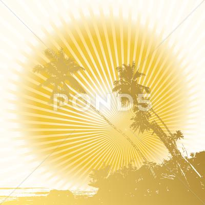 Stock Illustration of palm and sun