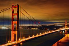 night scene of golden gate bridge - stock photo