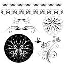 Set of patterns and ornaments Stock Illustration