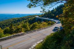 Blue ridge parkway autumn linn cove viaduct fall foliage mountains bridge at  Stock Photos