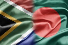 south africa and bangladesh - stock illustration