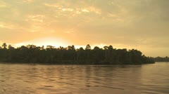 Stock Video Footage of View of Shroeline from A Boat On the Amazon River 3