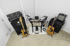 rock music room - high angle - stock photo