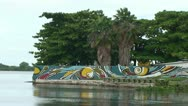 Stock Video Footage of Cienfuegos, waterfront with art on wall
