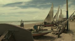 Fishermen Launching Their Boat 16 Stock Footage