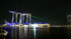Singapore marina bay in singapore night  laser show Stock Footage