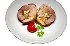 Roll pork with vegetables. Stock Photos