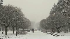 Russian city in the winter snowfall.  - stock footage