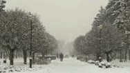 Stock Video Footage of Russian city in the winter snowfall.