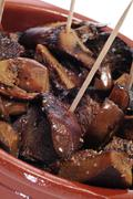 sauteed rovellones, typical autumn mushrooms of spain - stock photo