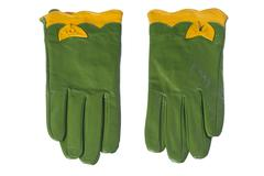 Isolated green leather gloves Stock Photos