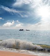 Landscape with fisherman boats in sea Stock Photos