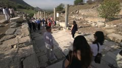 History & culture, Ephesus ruins, road and tourists Stock Footage
