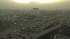 Ariel View of Los Angeles Rush Hour Traffic 2 Stock Footage