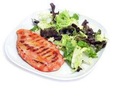 grilled chicken and green salad - stock photo