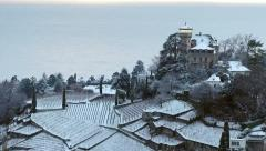 Castle and vineyard in winter Stock Footage
