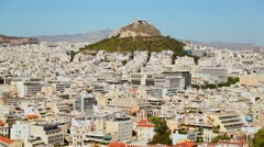 Wide establishing shot of Athens, Greece in sunshine. - stock footage