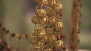 Close Up Of Gold Jewelry On Display Stock Footage