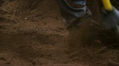 Using air gun on dirt around tree Stock Footage