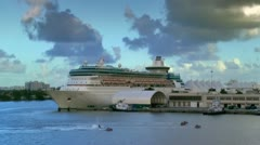 Port of Miami late afternoon. Personal watercraft and Cruise ship - stock footage