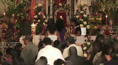 Parishioners Make Their Way to the Alter In A Catholic Church - stock footage