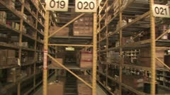 In Motion View of Warehouse Inventory 7 Stock Footage