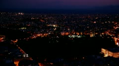 Beautiful establishing panning shot of Athens, Greece and the Acropolis at dusk, - stock footage