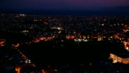 Beautiful establishing panning shot of Athens, Greece and the Acropolis at dusk, Stock Footage