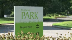 Sign for Matthew's Park (2 of 2) Stock Footage