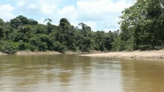 Traveling up Rio Shiripuno in a motorized canoe deep in the rainforest, Ecuad Stock Footage
