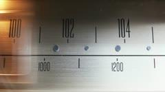 Glowing vintage radio dial Stock Footage