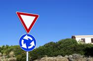 Stock Photo of roundabout sign