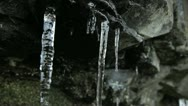 Icicles on Rocks Spring Thaw Stock Footage