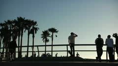 Skateboarders at Venice Beach Skate Park in Slow motion2 25 - stock footage