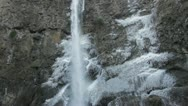 Wide Pan of Waterfall in Winter Stock Footage