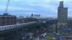 Elevated subway train in Queens, NY Stock Footage