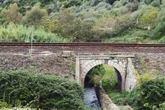 Creek under railway Stock Photos