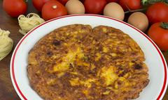 omelette made with tagliatelle - stock photo
