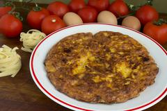 tagliatelle omelette - stock photo