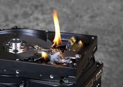 burning hard disks - stock photo