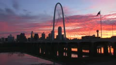 Dallas Dawn Bridge Time-Laspe Stock Footage